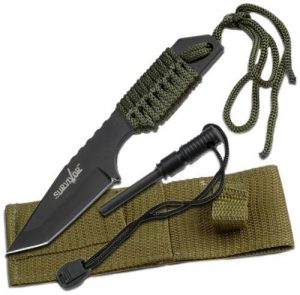 Survivor Outdoor Fixed Blade Hunting Knife with Fire Starter