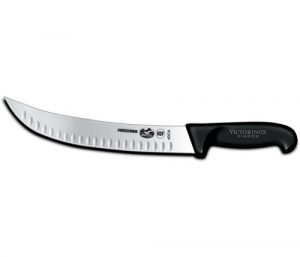 Victorinox Cutlery 10-Inch Curved Cimeter Knife, Granton Edge, Black Fibrox Handle