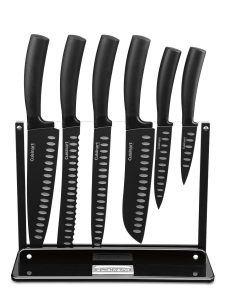 Cuisinart 7-Piece Nonstick Cutlery Knife Set with Acrylic Stand, Black