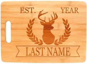 Custom Hunting Gift Enter Last Name Date Personalized Big Rectangle Bamboo Cutting Board Bamboo