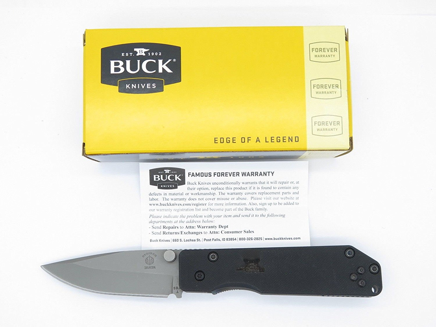 Buck Strider 881 881BO Bead Blasted ATS-34 Black G-10 Tactical Military Folding Pocket Knife