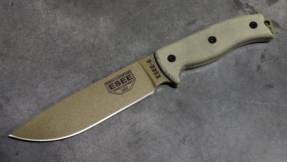 ESEE -6 Plain Edge with Canvas Micarta Handles Dark Earth Blade